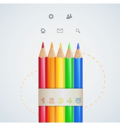 Infographic design color pencils vector