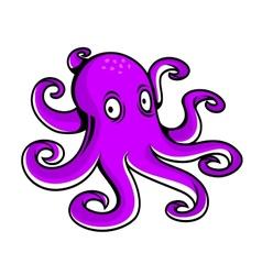 Bright purple cartoon octopus vector image