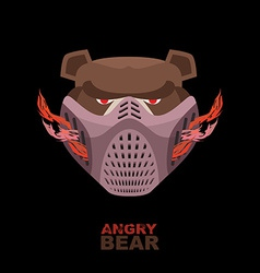 Angry bear in mask a ferocious wild animal vector