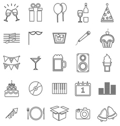 New year line icons on white background vector
