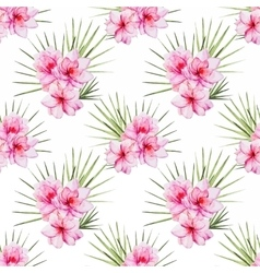 Watercolor tropical flral pattern vector image