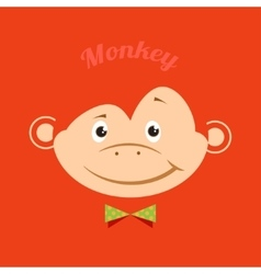 Flat funny monkey with a green butterfly on an vector