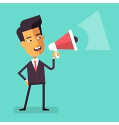 Asian businessman shouting into megaphone vector