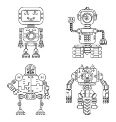 Robots linear style set vector
