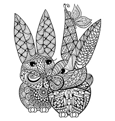 Hand drawn couple rabbits lovers for antistress vector