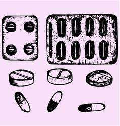 Set pills tablets vector