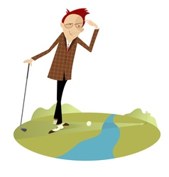 Golfer and water hazard vector