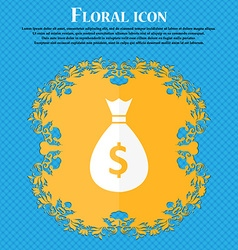 dollar money bag icon Floral flat design on a blue vector image