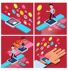 Smart watch modern technology people vector