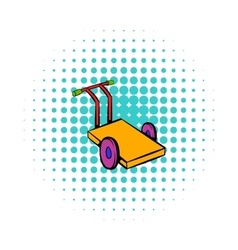 Trolley for luggage icon comics style vector