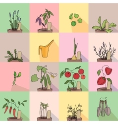 Seamless pattern with growing vegetables in pots vector
