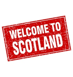 Scotland red square grunge welcome to stamp vector