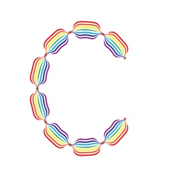 Letter c made in rainbow colors vector