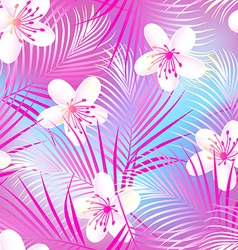 Tropical frangipani hibiscus with pink palms vector