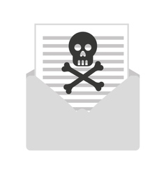 Skull bones cross caution icon vector
