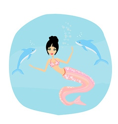 a Beautiful mermaid and dolphins vector image vector image