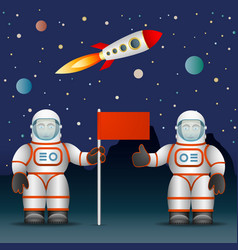Astronauts on the planet s surface a flag space vector