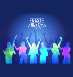 Best music silhouette people dancing live concert vector