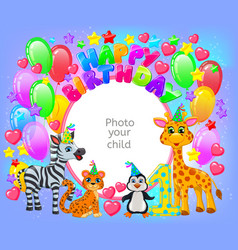 birthday party frame your baby photo vector image vector image