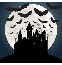 Castle and bat at night vector