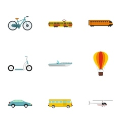 City transport icons set flat style vector