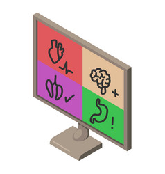 computer diagnostics icon isometric style vector image