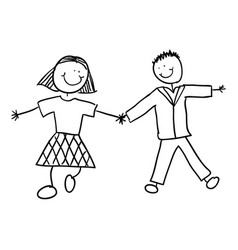 Couple with hand together and clothes vector