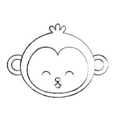 Cute sketch draw face cartoon vector