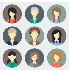 Female faces icons set vector