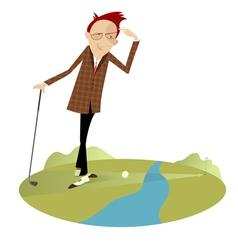 Golfer and water hazard vector