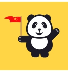 Greeting panda is holding red national flag of vector