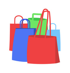 group of colorful shopping bags flat icon vector image