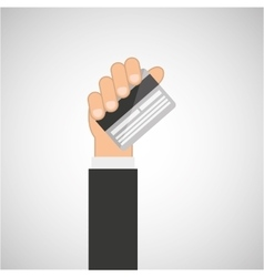 hand hold icon credit card design flat isolated vector image
