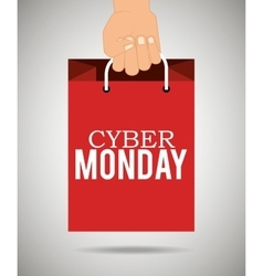 Hand holding bag cyber monday vector