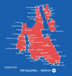 island of cephalonia in greece red map vector image vector image
