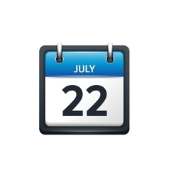 July 22 calendar icon flat vector
