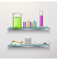 Lab equipment on shelves composition vector