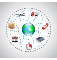 Logistics icons in sphere connected with dotted vector image vector image