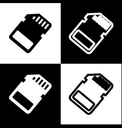 Memory card sign black and white icons vector