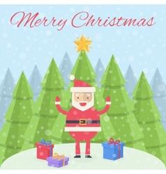 Merry christmas christmas card santa claus with vector