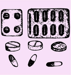 set pills tablets vector image vector image