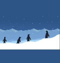 Silhouette of penguin on ice beauty landscape vector