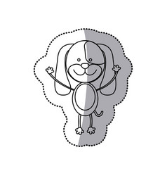 Sticker monochrome contour with male dog vector