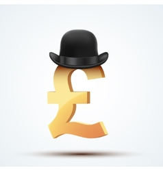 Symbol of the english pound in bowler hat vector