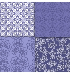 Violet and white floral wallpaper pattern set vector image vector image