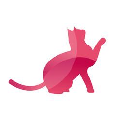 wild cat animal jungle pet logo silhouette of vector image