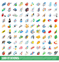 100 it icons set isometric 3d style vector image