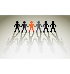 3d pixel human figures in a row vector image