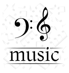 Music poster with treble and bass clef vector image
