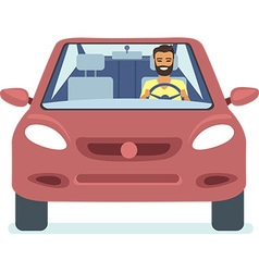 Man driving the red car vector